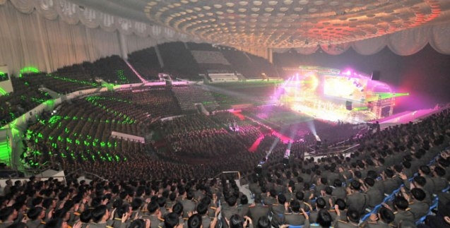 Overview of a Moranbong Band concert given for participants in the 27 July 2013 military parade and demonstration marking the 60th anniversary of the termination of the Fatherland Liberation War's (Korean War) active hostilities (Photo: Rodong Sinmun).