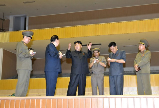 Kim Jong Un (3rd L) tours the renovation of the Pyongyang Indoor Stadium.  Also seen in attendance is Ma Won Chun (2nd R) and VMar Choe Ryong Hae (R) (Photo: Rodong Sinmun).