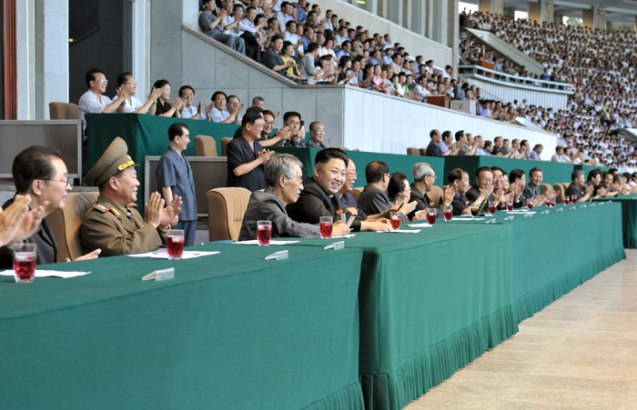 Kim Jong Un attends a men's football (soccer) game between the Ryongaksan and Pot'onggang Teams at Kim Il Sung Stadium in Pyongyang on 14 August 2013, one day ahead of Liberation Day (Photo: Rodong Sinmun).