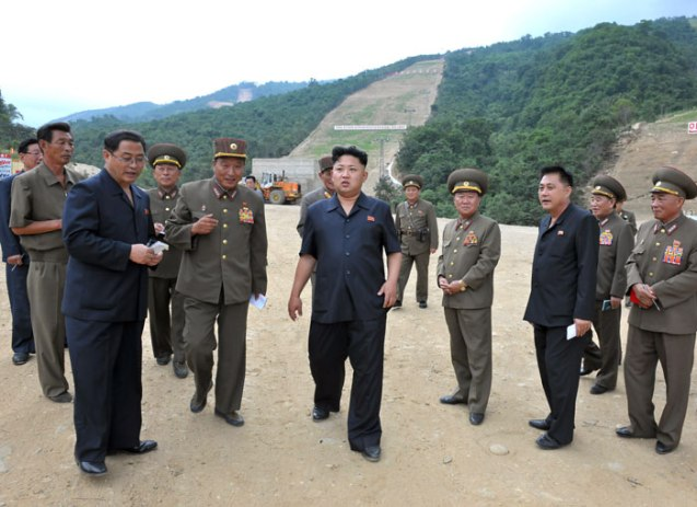 Kim Jong Un (3rd L) visits the construction of the Masik Pass Ski Resort in Kangwo'n Province.  Also seen in attendance are VMar Choe Ryong Hae (4th R), Ma Won Chun (3rd R) and Col. Gen. Kim Yong Chol (2nd R) (Photo: Rodong Sinmun).
