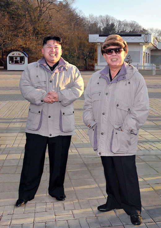 An image of current DPRK leader Kim Jong Un (L) and his father late leader Kim Jong Il (R) inspected Kaeso'n Fun Fair in central Pyongyang in December 2011.  The image appeared in DPRK state media on 25 August 2013, 53rd anniversary of the beginning of So'ngun (military-first) Revolutionary Leadership (Photo: Rodong Sinmun).