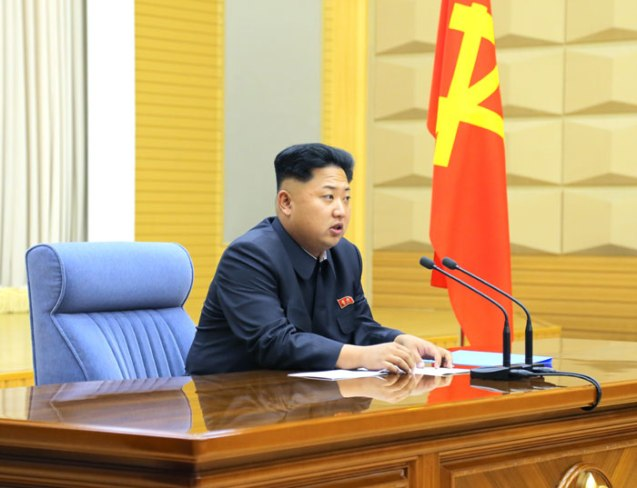 Kim Jong Un speaks at an expanded Party Central Military Commission meeting (Photo: Rodong Sinmun).
