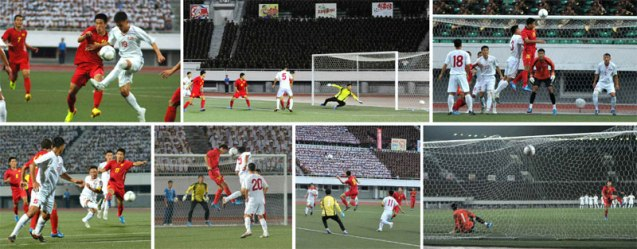 Men's premier league (soccer) games for the Torch Cup between the 25 April Team (of the KPA) and the Sonbong Team (of the Worker Peasant Red Guard) held in Pyongyang on 28 August 2013 (Photo: Rodong Sinmun).