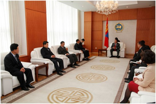 Mongolian President Tsakhiagiin Elbegdorj (background C) and Mongolian government officials (R) meet with Minister of People's Security Gen. Choe Pu Il and a DPRK delegation (L) in Ulan Bator on 28 August 2013 (Photo: Office of the President of Mongolia).