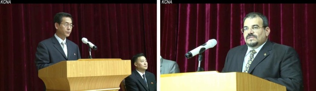 So Ho Won (L),  Vice Chairman of the Korean Committee for Cultural Relations with Foreign Countries, and Cuban Ambassador to the DPRK   (R) speak at an event marking August, the month of DPRK-Cuban solidarity on 13 August 2013 (Photos: KCNA screengrabs).
