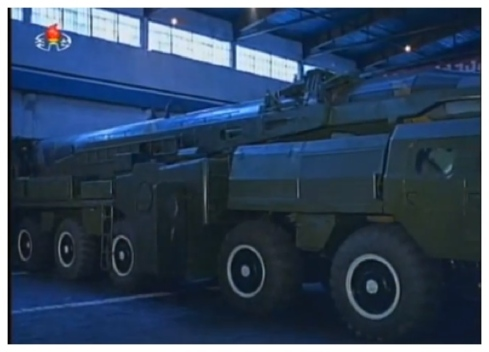 Transporter-erector-launcher (TEL) carrying a version of the Nodong medium-range ballistic missile (Photo: KCTV screengrab).