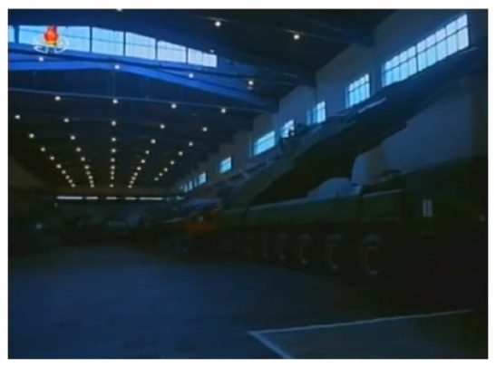 View of what is possibly the KN-08 road mobile intercontinental ballistic missile on what appears to be the WS51200 TEL (Photo: KCTV screengrab).