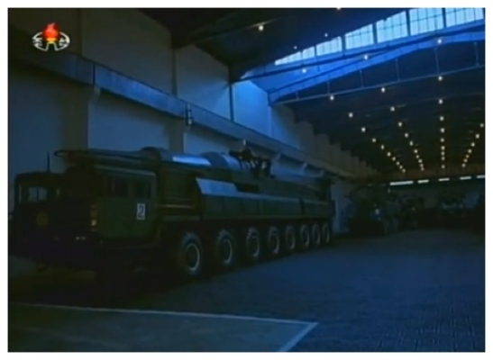 View of another mobile ballistic missile at what appears to be an arms factory or development facility (Photo: KCTV screengrab).