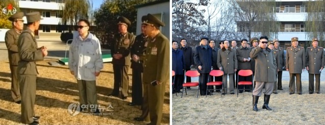 Late DPRK leader Kim Jong Il visits the equestrian company subordinate to KPA Unit #534 on 4 November 2008 (L) and Kim Jong Un visits the equestrian company on 19 November 2012 and renamed it the Mirim Riding Club (Photos: KCTV-Yonhap; KCNA).