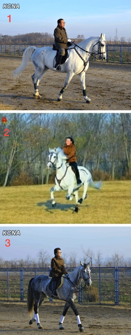 Kim Family members and core DPRK elites Kim Jong Un's uncle Jang Song Taek (1) Kim Jong Un's younger sister Kim Yo Jong (2) and Kim Jong Un's aunt and Mr. Jang's wife Kim Kyong Hui (3) riding horses at the Mirim equestrian grounds in Pyongyang in November 2012 (Photos: KCNA, KCTV; NK Leadership Watch archives photos).