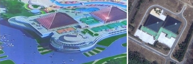 Design for indoor pool at Munsu Wading Pool (L) resembles indoor water amusement facilities at the Kim Family's residential compound in Ryongso'ng District in northern Pyongyang (Photos: KCTV screengrab and Digital Globe).