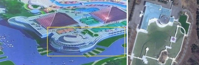 Designs of a structure at Munsu Wading Pool (L) resemble the banquet hall at the Kim family's residential compound in Ryongso'ng District in northern Pyongyang (R) (Photos: KCTV screengrab, Digital Globe).