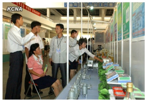 DPRK students discuss their projects during the exhibition (Photo: KCNA).