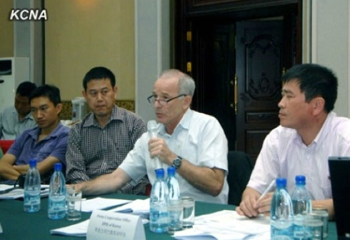 Martin Weiersmuller (2nd R), head of the Swiss Development Cooperation Office in the DPRK, speaks during an agroforestry workshop (Photo: KCNA).
