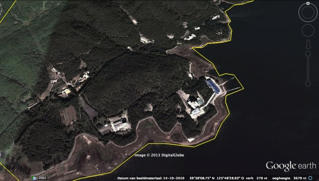 Southern part of a residential compound for the Kim Family and other DPRK elites at Yo'npu'ng Lake.  The compound was used for hunting trips by the late DPRK President and founder Kim Il Sung and his son, the late leader Kim Jong Il.  A view of the northern section can be viewed here (Photo: Google image).