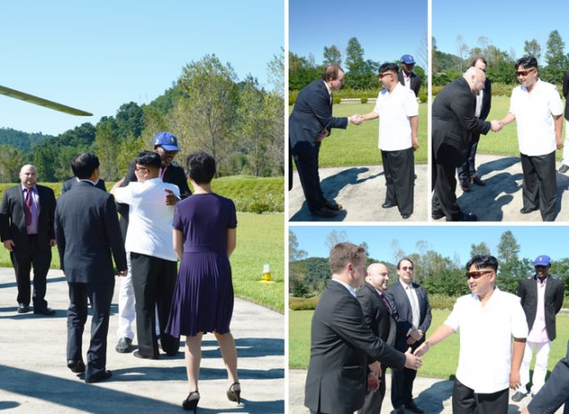 Kim Jong Un shakes hands with retired NBA player Dennis Rodman and members of Rodman's travel party (Photo: Rodong Sinmun).