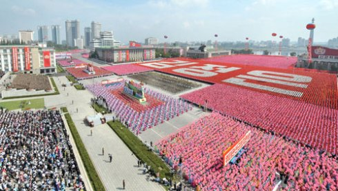 Parade floats which were part of a demonstration by Pyongyangites which followed the WPRG parade, held on Kim Il Sung Square in Pyongyang on 9 September 2013 (Photo: Rodong Sinmun).
