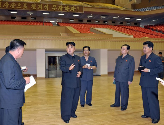 Kim Jong Un (2nd L) visits the renovation of the Pyongyang Indoor Stadium.  Also seen in attendance is NDC Vice Chairman Jang Song Taek (2nd R) (Photo: Rodong Sinmun).