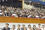 Kim Jong Un (3rd L) watches senior women's competitions during the 2013 Asian Cup and Interclub Junior and Senior Weightlifting Championships in Pyongyang on 15 September 2013 (Photo: Rodong Sinmun) Also in attendance are his wife Ri Sol Ju (2nd L), VMar Choe Ryong Hae (L), Pak Pong Ju (4th L) and Kim Ki Nam (5th L) (Photo: Rodong Sinmun).