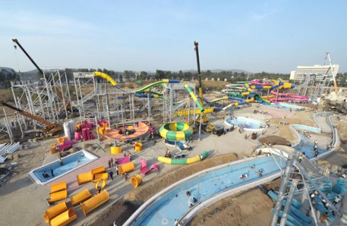 A view of the waterslides under construction at Munsu Swimming Complex in Pyongyang (Photo: Rodong Sinmun).
