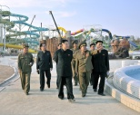 Kim Jong Un tours the construction of the Munsu Swimming Complex in Pyongyang.  Also seen in attendance is his uncle, NDC Vice Chairman Jang Song Taek (2nd L) (Photo: Rodong Sinmun).