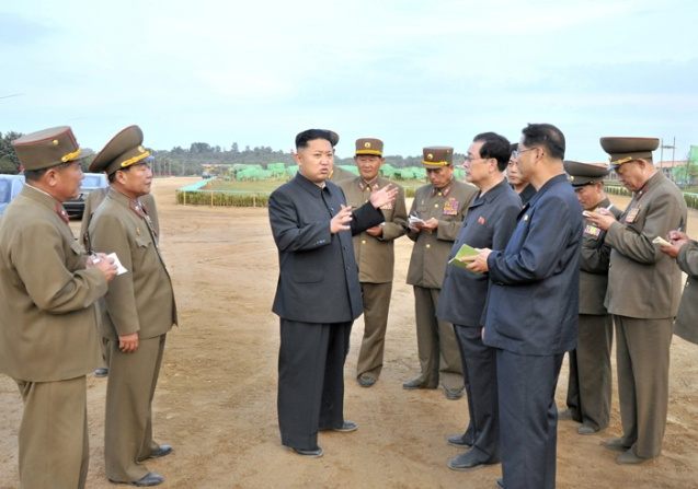 Kim Jong Un tours the construction of the Mirim Riding Club in east Pyongyang (Photo: Rodong Sinmun).