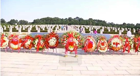Floral wreaths from various DPRK power organizations and institutions at the Patriotic Martyrs Cemetery on Harvest Moon Day (Chuseok) on 19 September 2013 (Photo: KCNA screengrab).