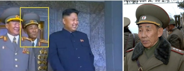 KPA Colonel General (L) attending to Kim Jong Un at the 9 September 2013 WPRG parade and Col. Gen. Pyon In Son (R) (Photos:  KCTV screengrab, KCNA).
