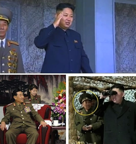 KPA Colonel General (top) attending to Kim Jong Un at the 9 September 2013 WPRG parade and Col. Gen. Pyon In Son (bottom) (Photos:  KCTV screengrab, Xinhua, KCNA-Yonhap).