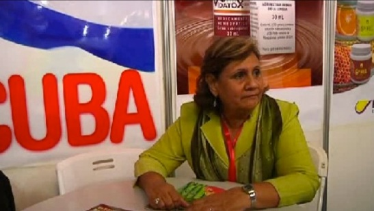 Juana Navarrete Mendoza of the Cuban chemical and pharmaceutical company LABIOFAM is interviewed by DPRK state media at the 9th Pyongyang Autumn International Trade Fair (Photo: KCNA).