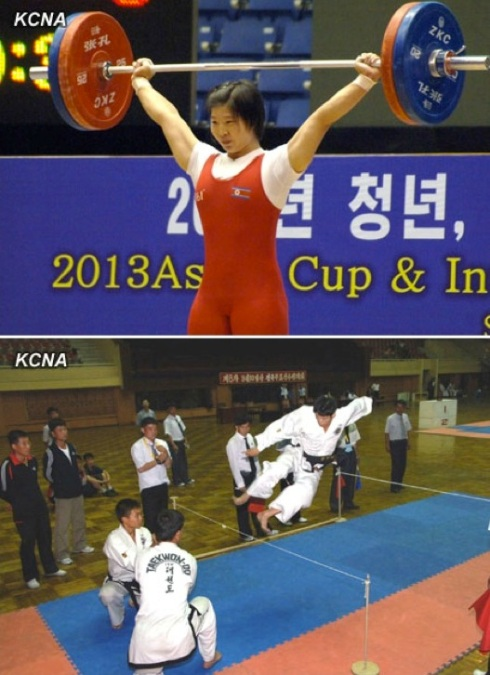 The 2013 Asian Cup and Interclub Junior and Senior Weightlifting Championship (top) and 10 September Prize Martial Arts Contest (bottom) were held in Pyongyang during 10-18 September 2013 (Photos: KCNA)