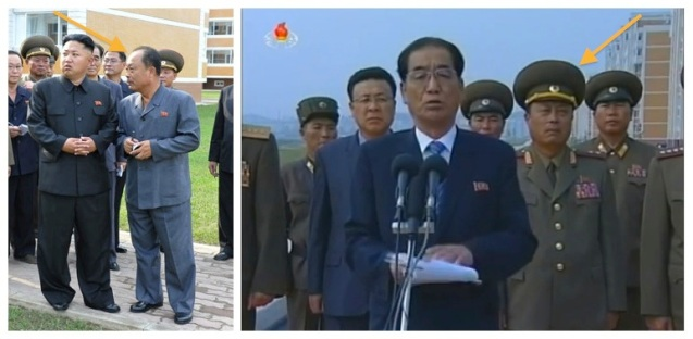 Choe Chun Sik (annotated), President of the Second Academy of Natural Sciences, visits the scientists street with Kim Jong Un (L) and attends the opening ceremony (Photos: Rodong Sinmun, KCTV screengrab).