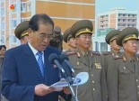 DPRK Premier Pak Pong Ju delivers a speech at a ceremony opening the U'nha Scientists' Street residential area in Pyongyang on 11 September 2013.  Also seen in attendance are Minister of the People's Armed Forces Gen. Jang Jong Nam (2nd R) and Director of the KPA General Political Department VMar Choe Ryong Hae (R) (Photo: KCTV screengrab).
