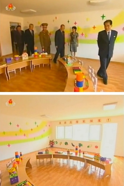 Mun Kyong Dok, Kim Ki Nam, Gen. Jang Jong Nam, Yang Hyong Sop and Pak Pong Ju tour a classroom in the U'nha Scientists Street in Pyongyang (Photos: KCTV screengrabs).