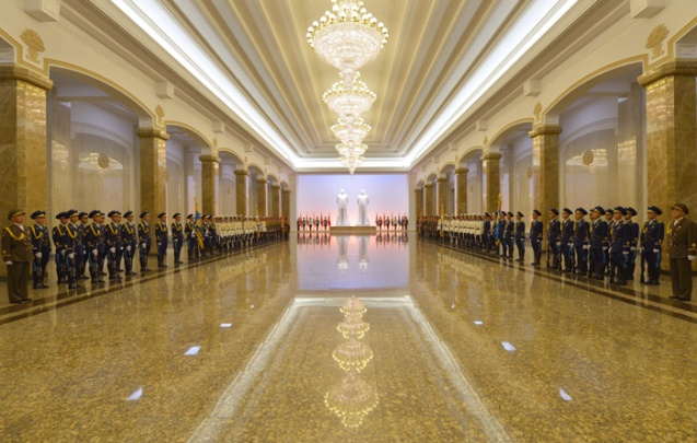 View of the statue hall at Ku'msusan Palace of the Sun on 10 October 2013, the 68th anniversary of the foundation of the Korean Workers' Party (Photo: Rodong Sinmun).