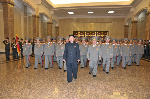 Kim Jong Un and senior KPA officials visit Ku'msusan Palace of the Sun in Pyongyang on 10 October 2013 (Photo: Rodong Sinmun).