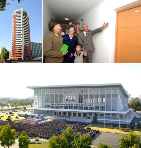 An apartment complex constructed for DPRK athletes with judoka An Kum Ae in front of her apartment  (top) and the ceremony open the renovated Pyongyang Indoor Stadium (Photo: Rodong Sinmun).