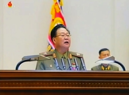 VMar Choe Ryong Hae, Director of the KPA General Political Department and Vice Chairman of the Party Central Military Commission delivers a report on the first day of the 4th Meeting of KPA Company Commander and Political Instructors in Pyongyang on 22 October 2013 (Photo: KCTV still).