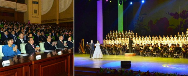 Mongolian President Tsakhiagiin Elbegdorj and his wife watch a concert given in his honor by the elite Mansudae Art Troupe at the East Pyongyang Grand Theater on 28 October 2013 (Photos: Rodong Sinmun).