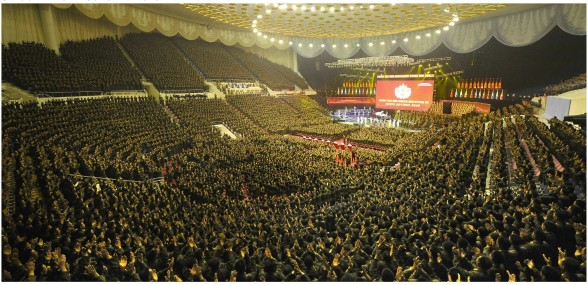 Overview of the venue of a concert of the Merited State Choir and Moranbong Band on 23 October 2013 for participants in the 4th Meeting of KPA Company Commanders and Political Instructors (Photo: Rodong Sinmun).