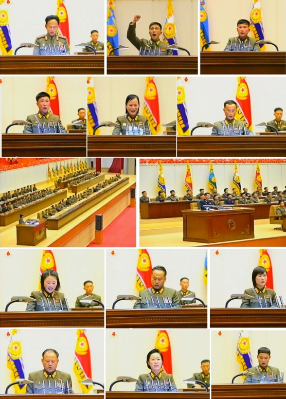 Meeting speakers at the 4th Meeting of KPA Company Commanders and Political Instructors held in Pyongyang on 22 and 23 October 2013 (Photos: KCTV stills).