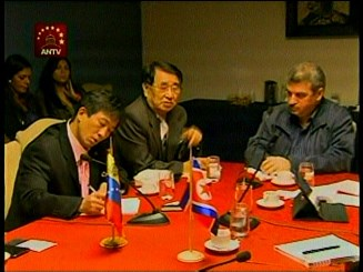 DPRK Ambassador Jon Yong Jin (C) and an unkown DPRK diplomatic official (L) meet with Yul Jabour (R), a chairman of the Venezuelan National Assembly's Commission on Foreign Policy, Sovereignty and Integration on 4 October 2013 (Photo: Cojedes-PSUV).