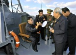 Kim Jong Un (L) during an inspection of recently constructed KPA Navy warships.  Also in attendance are VAdm Kim Myong Sik (2nd L), Gen. Ri Yong Gil (3rd L) and Ju Kyu Chang (R) (Photo: Rodong Sinmun).