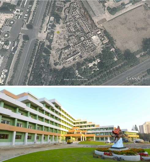 Construction of the Okryu Children's Hospital in east Pyongyang in June 2013 (top) and in Rodong Sinmun in October 2013 (Photos: Google image, Rodong Sinmun).