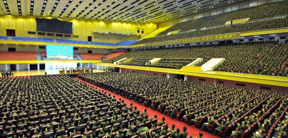 Overview of the venue of a practical shooting competition of participants in the 4th Meeting of KPA Company Commanders and Political Instructors (Photo: Rodong Sinmun).