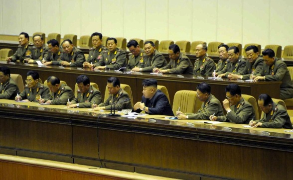 View of leadership platform as Kim Jong Un speaks at practical shooting competition of KPA company commanders and political instructors (Photo: Rodong Sinmun).