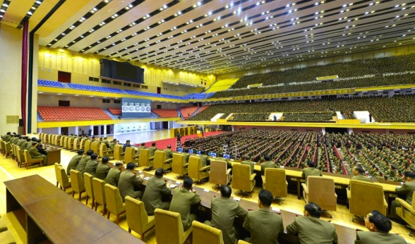 View from the leadership platform of a practical shooting competition of participants in the 4th Meeting of KPA Company Commanders and Political Instructors (Photo: Rodong Sinmun).