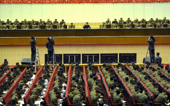 View of the leadership platform at a shooting competition of participants in the 4th Meeting of KPA Company Commanders and Political Instructors (Photo: Rodong Sinmun).