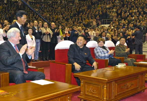 Kim Jong Un (2nd L) attends a concert by the Moranbong Band and the Merited State Chorus in Pyongyang on 15 October 2013.  Also seen in attendance is Pavel Ovsyannikov (L) of the Orchestra of the 21st Century, Natalia Ivanovna Semyonova (2nd R) of the Orchestra of the 21st Century and VMar Choe Ryong Have (R) (Photo: Rodong Sinmun).