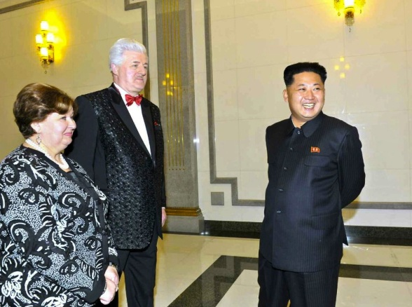 Kim Jong Un (R) talks with Manager of the Orchestra of the 21st Century Natalia Ivanovna Semyonova (L) and the orchestra's lead conductor Paval Ovsyannikov (C) at the East Pyongyang Grand Theater on 15 October 2013 (Photo: Rodong Sinmun).